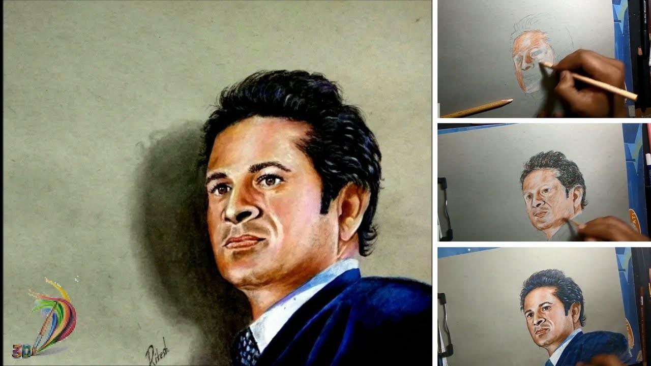 Realistic Drawing Of Sachin Tendulkar (Time Lapse) - 3D Art