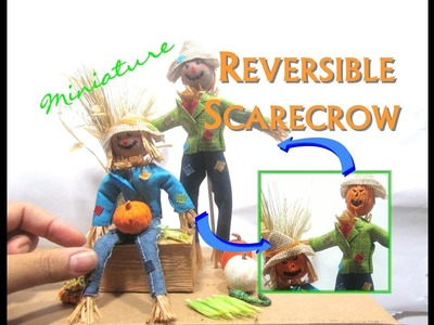 Scarecrow Fabric No Sew Tutorial Dollhouse Miniature with Reversible Heads