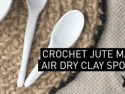 0701kit. March 2017. Crochet jute mat & clay spoons