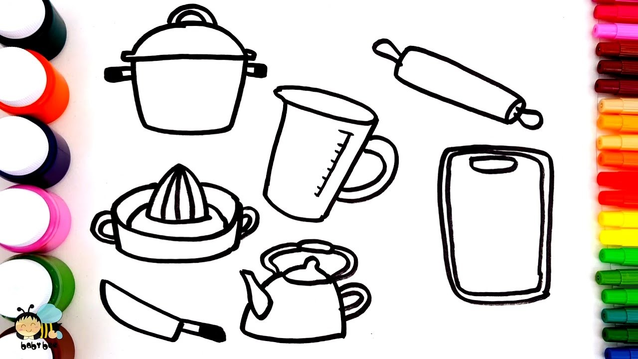 Coloring Pages For Kids To Learn Colors With Kitchen Utensils