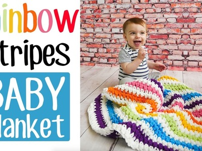 Crochet Rainbow Stripes Baby Blanket - the easiest on YouTube!