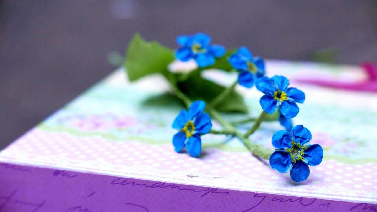 DIY   How to make forget me not flower by crepe paper   Làm hoa forget me not giấy nhún