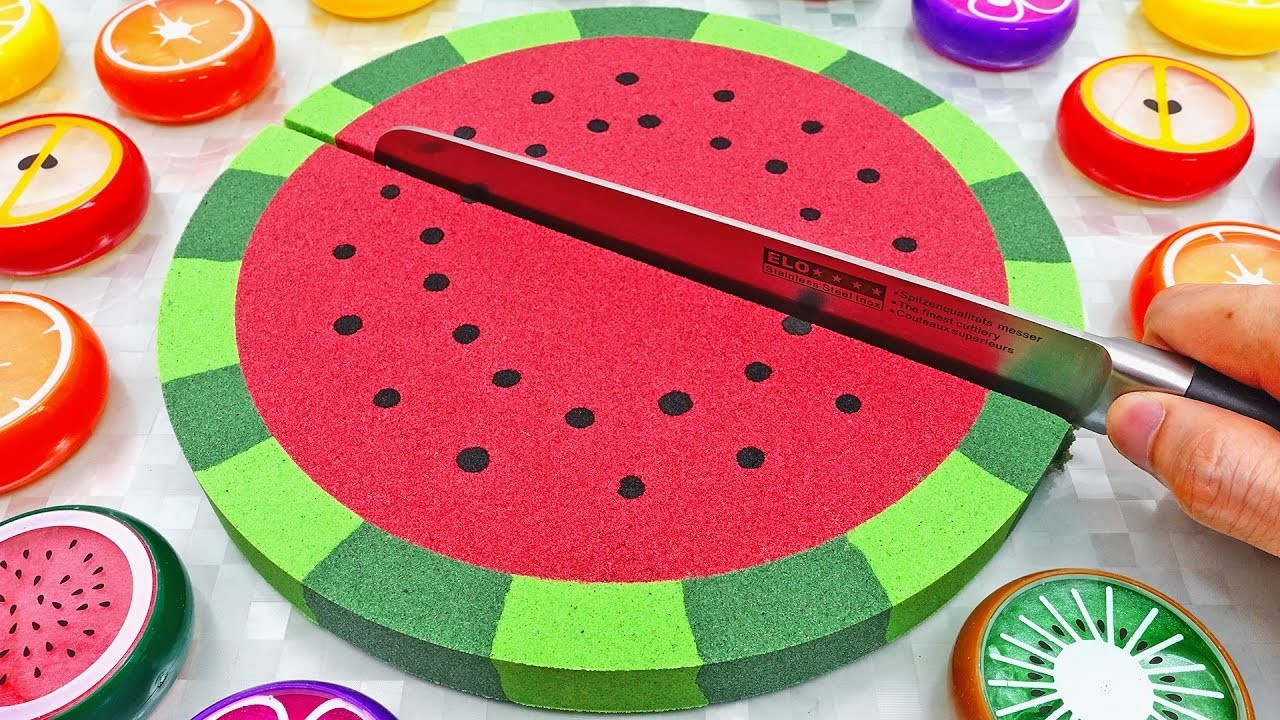 DIY How to make Kinetic Sand Cake Watermelon Mad Matter Skwooshi Learn Colors