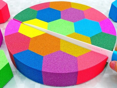 DIY How to make Kinetic Sand Cake Rainbow Honeycomb Learn Colors