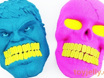 DIY How to Make Kinetic Sand Hulk Mask VS Slime Eyed Skull Head Pez Teeth Learn Color Nursery Rhymes