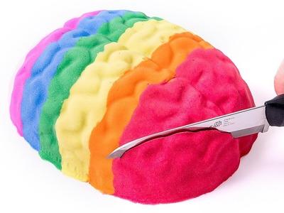 DIY How to Make 'Kinetic Sand Colors Human Brain Cake' Baby Learn Colors Glitter Sand Ice Cream