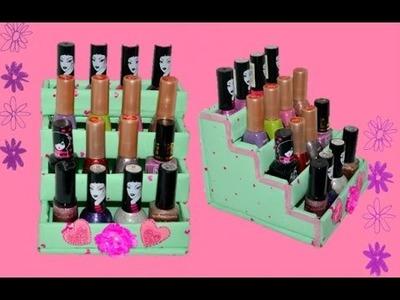 DIY nail polish organizer  using cardboard how to make nail polish organizer