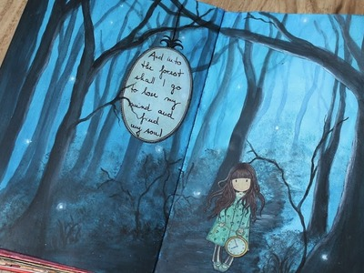 Forest art journal tutorial. How to paint night scene with trees in acrylics.