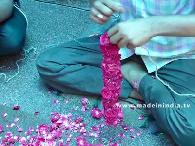 Garland Maker Making Rose Garland   How to string roses Indian method