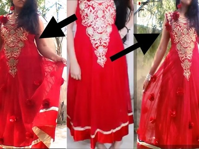 How i attached fabric flowers to my anarkali dress.designing anarkali suit.gown.dress.in hindi