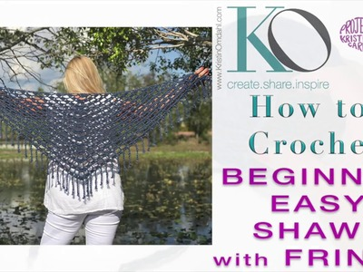 How to Crochet Top Down Triangle Celeste Shawl with Boho Fringe LEFT HAND