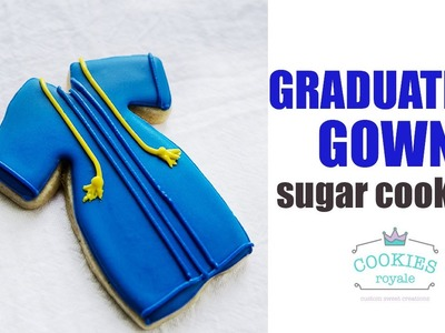 How to decorate Graduation Gown Sugar Cookies with Royal Icing