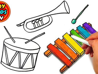How to draw a Violin and Xylophone | Drum, Trumpet | Painting for kids