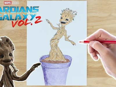 How To Draw And Colour In Baby Groot ???? Guardians Of The Galaxy ???? Drawing For Kids ???? Crafty Kids