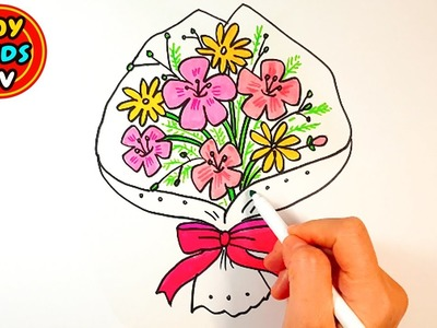 How to draw Flower bouquet | Learn color | Painting for kids