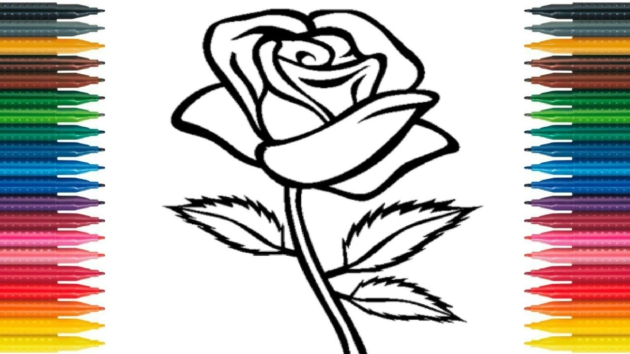 How To Draw Rose For Kids Draw Rose Flower Learn Colors With Flower