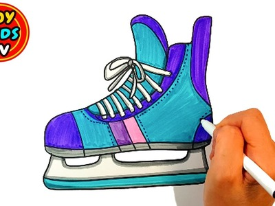 How to draw Skate Shoes | Sports Equipment | Painting for kids