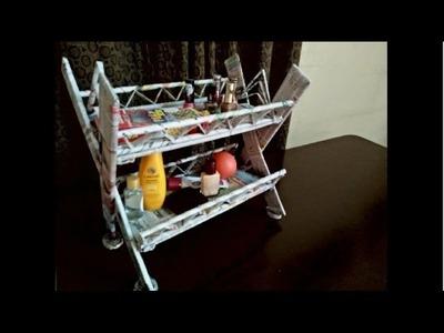How to make a cardboard rack (also using newspaper) | Stationery cardboard rack | desk organizer