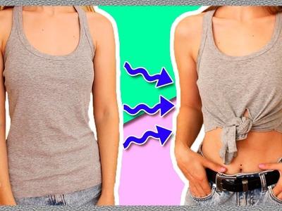 How to make a CROP TOP out of a T SHIRT * Cómo hacer un TOP CORTO con una CAMISETA VIEJA ✅  Top Tip