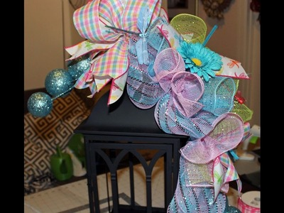 How to make a deco mesh swag for a lantern