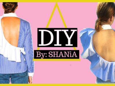 How to make a diy shirt with open back and ruffle from a men's collared shirt || SHANiA