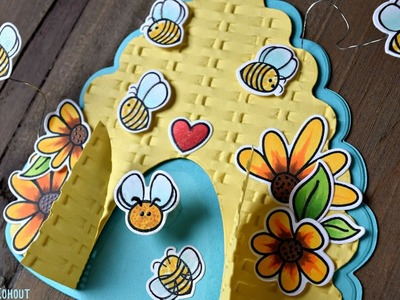 How to make a Hive Shaped Card using Honey Bee Stamps Hive Card Dies