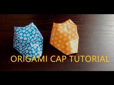HOW TO MAKE A PAPER CAP, ORIGAMI HAT TUTORIAL, 可愛折紙帽子教學