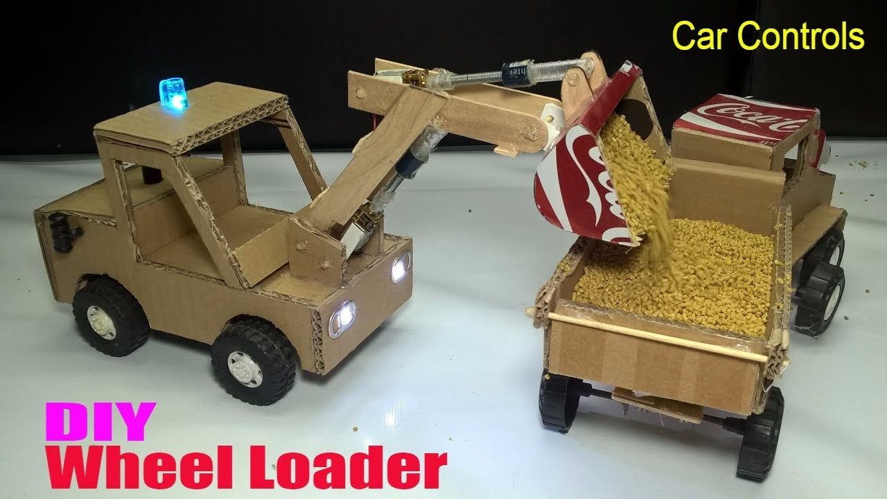 How to make a Wheel Loader - Car Remote Control using Coca cola and Cardboard (Electric Truck)