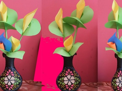 How to Make Calla Lily Paper Flower Easy Origami Flowers |  For Beginners Making Step By Step