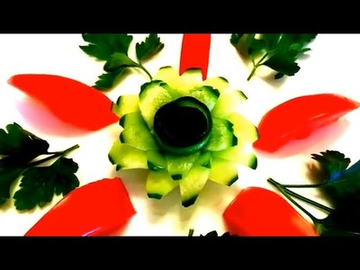 HOW TO MAKE CUCUMBER FLOWER - VEGETABLE CARVING & ART IN CUCUMBER - TOMATO DESIGN