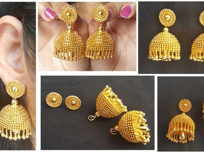 How to make Designer Silk Thread Jhumkas in 5 easy steps | Gold look Silk Thread Jhumkas at home