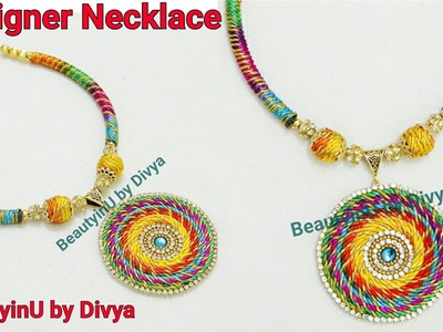 How to make Designer Silk Thread Necklace at Home. Multicolour Lace Necklace