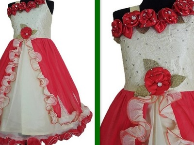 How to make Floor length gown One shoulder  with ruffle strips & Handmade Flower making DIY