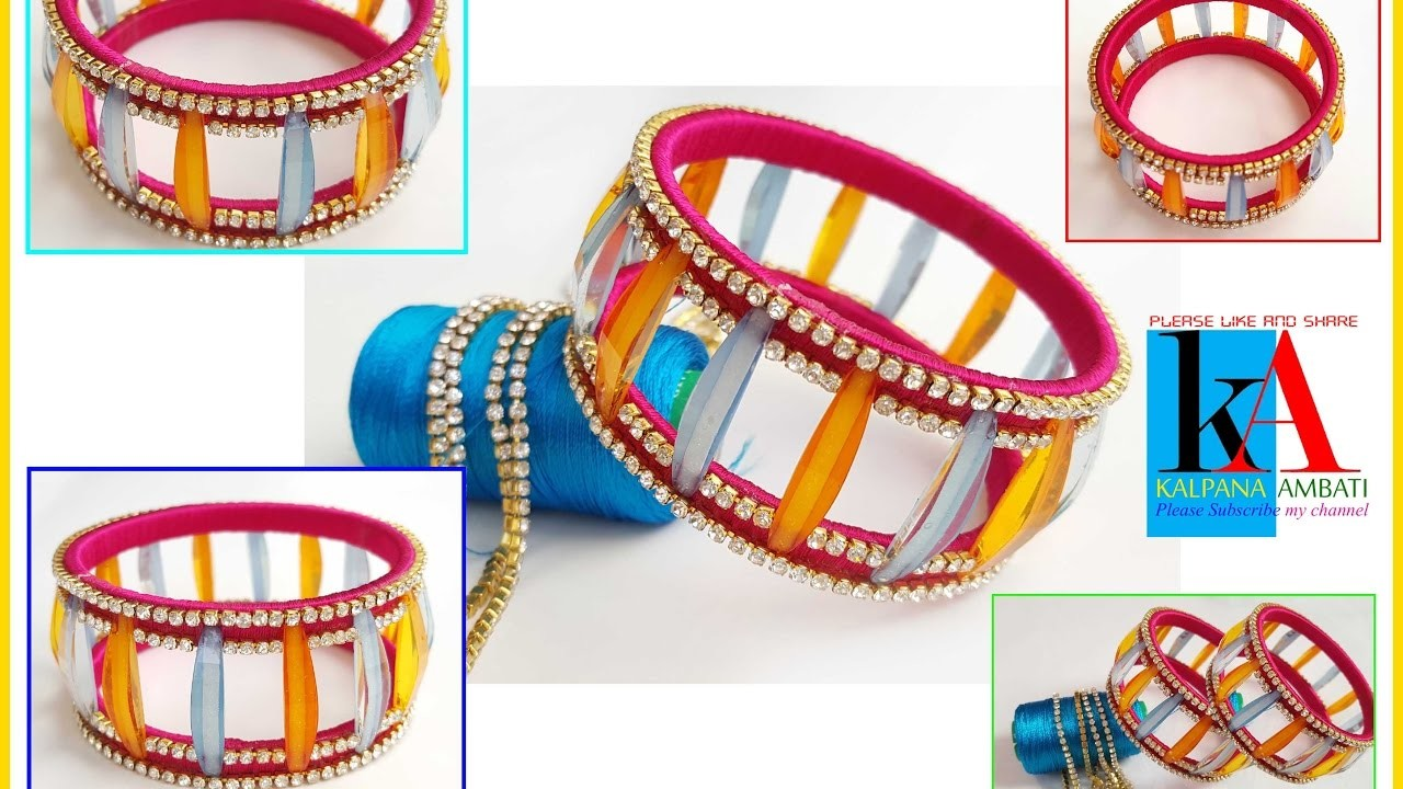 How to make Jeans Top Silk Thread Bangles with glass cut beads silk thread bangles