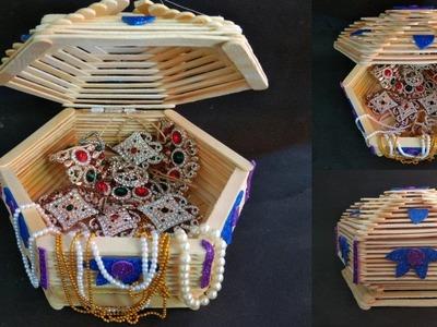 How to make jewelry box |  popsicle stick crafts | Diy | Ice cream stick craft