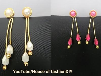 How To Make Long Earrings.Drop Earrings with Zardosi. !
