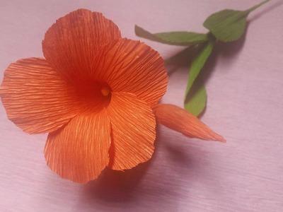 How to Make Mandevilla Paper flowers - Flower Making of Crepe Paper - Paper Flower Tutorial