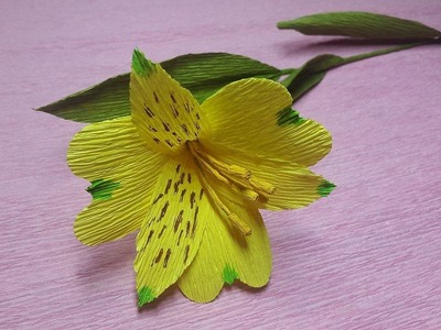 How to Make Peruvian Lily Paper flowers - Flower Making of Crepe Paper - Paper Flower Tutorial