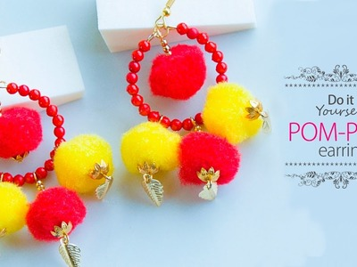 How to make pom pom earrings | DIY hoop earrings | jewelry making