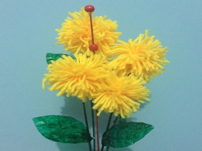 How to make pom pom flower | wool flower | home decoration idea