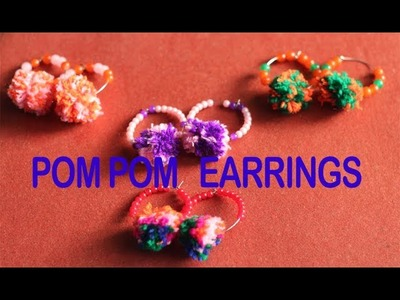 HOW TO MAKE POM POM HOOPS EARRINGS WITH BEADS | HANDMADE JEWELLERY TUTORIAL | DIY |EARRINGS MAKING
