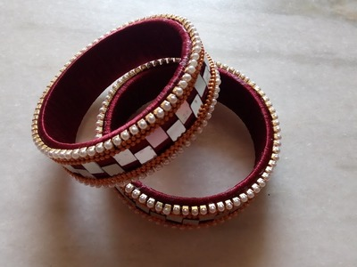How to make Silk thread bridal designer stylish mirror and pearl work bangles - SSC Arts 385