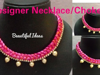 How to Make Silk thread Designer Necklace. Choker at Home. Tutorial.