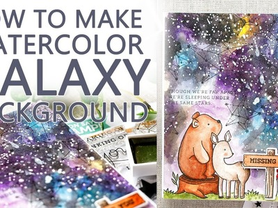 How To Paint Watercolor Galaxy Background for a Card