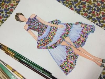 How to sketch Floral print dress #10
