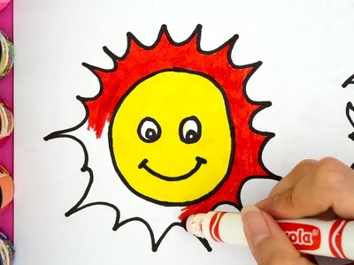 Learn To Draw and Coloring - How To Draw a Smiling Sun Easy Step By Step