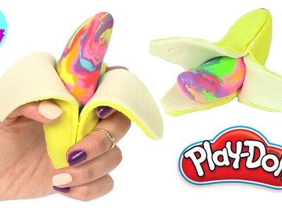 Play Doh How to Make Banana Fruit Rainbow Learning Diy Plastilina y Juguetes Castle Toys