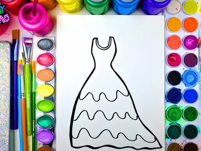 Coloring Page of Sparkle Beautiful Dress for Kids to Learn to Color and Paint with Watercolor