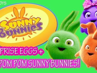 Disney Junior Sunny Bunnies Toy Surprise Eggs DIY POM POMS Learn Colors Tubey Toys