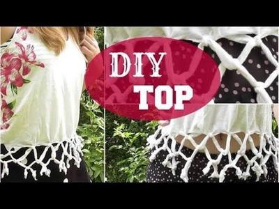 DIY 5-minute fringe crop top(NO SEW).diy shirt cutting designs.t shirt cutting designs